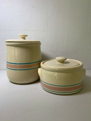 Mccoy Stone Craft Pink And Blue Stripe Cookie Jar Canister's Set Of 2