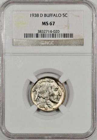1938 - D Buffalo Nickel Ngc Ms 67 An Unreal Gem,  Easily The Best Ive Seen In Years