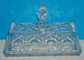 Lovely Vintage Cut Crystal Heavy 1/4 Lb Butter Dish W/ Exaggerated Finial On Lid