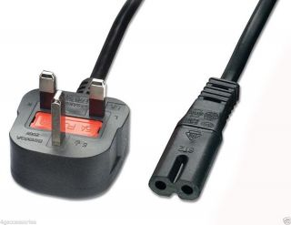 Ce Figure 8 Mains 2 Pin Power Lead Cable Plug Cord Laptop Television Tv Dvd