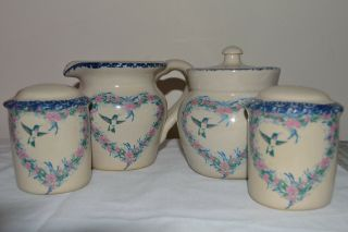 Home And Garden Party Stoneware S&p Shakers Sugar/creamer Set Hummingbird