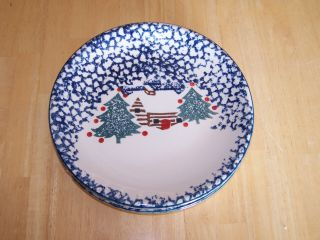 Tienshan Folk Craft Cabin In The Snow Salad Plate Blue Sponge 1 Ea 10 Available