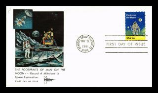 Dr Jim Stamps Us Footprints Of Man On Moon Space First Day Cover Gill Craft