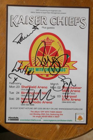 """Kaiser Chiefs Signed Flyer 8x6 """" - Signed By 5 - Autographs"""