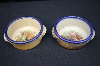 "2 Monroe Salt Hand Crafted Northern Fruit Pattern 6 1/4 "" Chowder Bowls"
