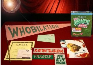 Grinch Jim Carrey Prop Who Flag & Mail,  Signed Pp Pic,  Blu Dvd,  & More,  Uacc