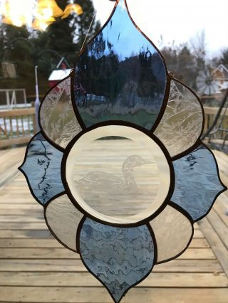 Stained Glass Etched Duck Beveled Patterned Blue & Clear Window Home Garden Deco
