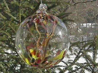 """Hanging Glass Ball 6 """" Diameter """" Vermont Fall Tree """" Witch Ball (1) 112"""