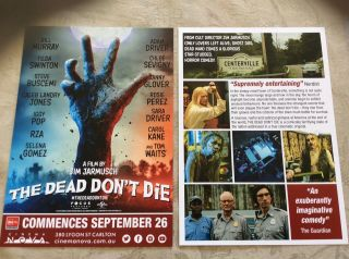 Promotional Movie Flyer The Dead Don't Die Not Tickets,  Not A Dvd