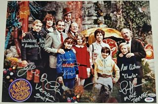 Gene Wilder,  Willy Wonka Kids X6 Cast Signed 12x18 Garden Photo Psa/dna Loa