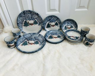 Tienshan Folk Craft Cabin In The Snow Stoneware 16 Pc Service For 4