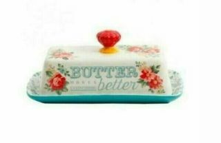 Pioneer Woman Vintage Floral Butter Dish Stoneware (fast)