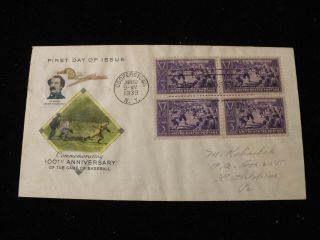 1939 Fdc Baseball Centennial 855 Art Craft Multicolored Cachet Planty 2f Rare