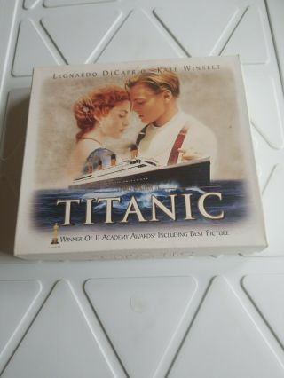 Titanic Vhs Box W/35 Mm Film Cel 8 Collector Cards Dicaprio 2 Vhs Tapes Not Dvd