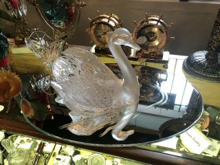 Vintage Lalique Studios Large Head Up Swan With Mirror Signed And 395