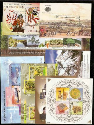 India 2002 To 2003 Air Mail Railway Everest Crafts 8 Diff Miniature Sheet