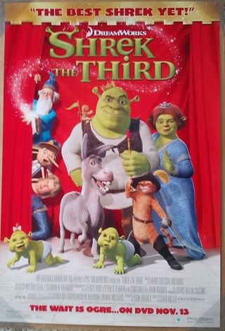 Shrek The Third Dvd Movie Poster 1 Sided Rolled 27x40 Mike Myers