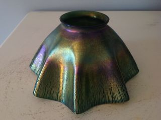 Tiffany Studios Favrile Glass Lamp Shade For Candlestick Candle Holder