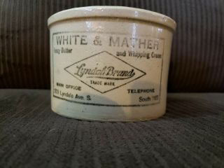 Vtg Red Wing Stoneware Advertising Butter Crock White & Mather Mpls St.  Paul