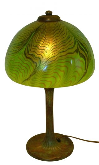 Lundberg Studios Arts And Crafts Art Nouveau Style Art Glass Lamp