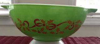 Vintage Rare Pyrex Bowl Merry Christmas Happy Year Holiday Green 443