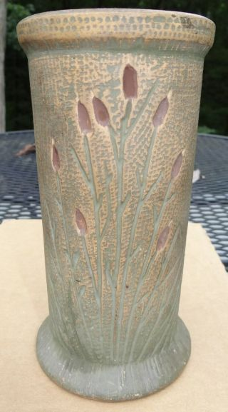 "Red Wing 7 1/2 "" Brushware Cattails Vase Pottery Stoneware Vtg Antique Art Crafts"