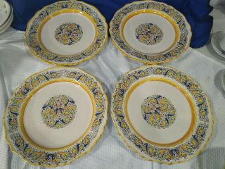 Meridiana Ceramiche Hand - Painted Dinner Plates Set Of 4 Crafted In Italy