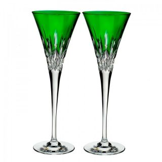 Waterford Lismore Pops Emerald Toasting Flute Pair 40019533