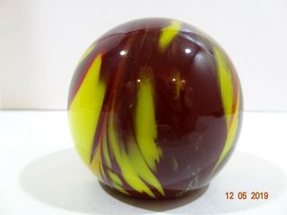 "Vintage Blenko Red Yellow Swirl 3 "" Round Glass Hand Blown Crafted Paperweight"