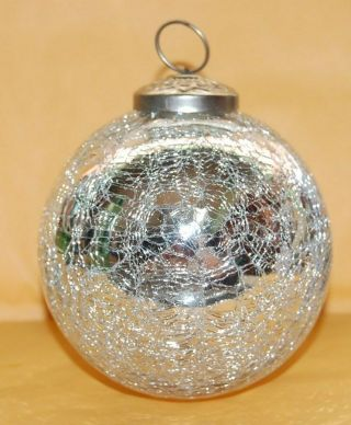 Silver Crackle Glass Friendship Witches Ball Ornament Hand Crafted Art Christmas