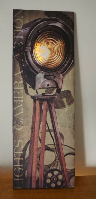 Lights Camera Action Lighted Retro Vintage Movie Cinema Home Theater Room Sign