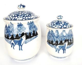 Folk Craft By Tienshan Wolf Pattern Two Piece Stoneware Canister Set