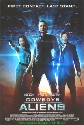 Cowboys And Aliens Movie Poster Ds 27x40 S.  Spielberg Daniel Craig Harrison Ford