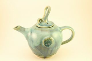 Irish Art Pottery Emerald Teapot Colm De Ris Ireland China Hand Crafted & Signed
