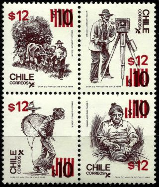 Chile,  Chilean Typical Crafts,  Overprinted,  Mnh,  Year 1985,  Mnh,  Block Of 4