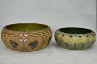 Vintage Roseville Pottery Mostique Arts And Crafts Bowls 240 - 7 And 72 - 6
