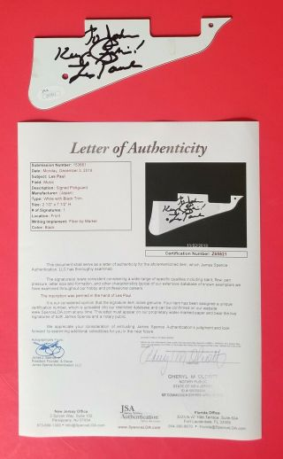 Les Paul Signed Electric Guitar Pickguard Certified Authentic With Jsa Psa