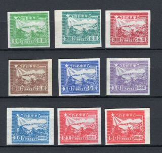 China East 1949 Liberated Area Group Of 9 Stamps Imperf Mint/unused