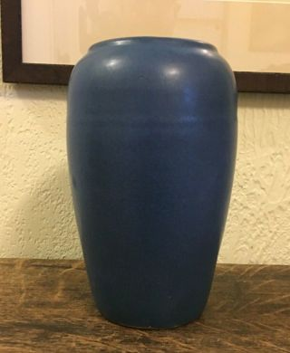 Arts & Crafts Mission Style Brush Mccoy Pottery Tall Matte Blue Vase 8 ""