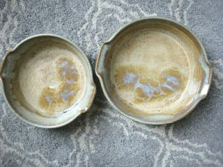 Hand Crafted Set Of Gorgeous Lugged Pottery Serving Bowls -