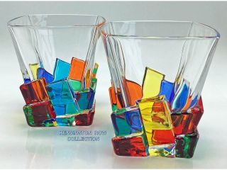 """"""" Capri """" Whiskey / Old Fashioned Glasses - Hand Painted Venetian Glass"""