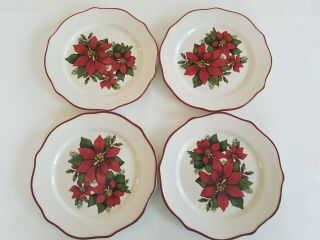 Marcia1952pink Only Euc Better Homes & Gardens Set 12 Poinsettia Xmas Dinnerware