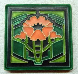 "Motawi Tileworks Art Tile Poppy 4 "" X 4 "" Art Deco,  Arts And Crafts Retired"