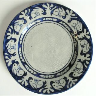 "Antique Early Dedham Pottery 6 "" Rabbit Pattern Plate Blue Arts Crafts Old Mark"