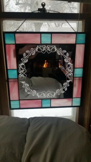 "Rose Round Border Hand Crafted Stained Glass Mirror 16 "" X16 "" Wall Window Hanging"