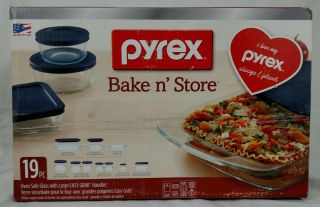 Pyrex 19 - Piece Glass Bake And Store Set Glassware With Blue Lids - Oven Safe