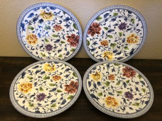 Ralph Lauren Set 4 Macao Salad Side Luncheon Plates Blue Multi Color Floral