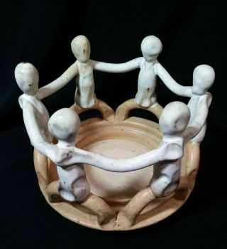 Mcdaniel Village Potter Circle Of Friends Hand Crafted Art Pottery Candle Holder