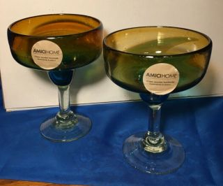 2 Amici Home Ombre Margarita Glasses,  Nwt,  Hand Crafted In Mexico