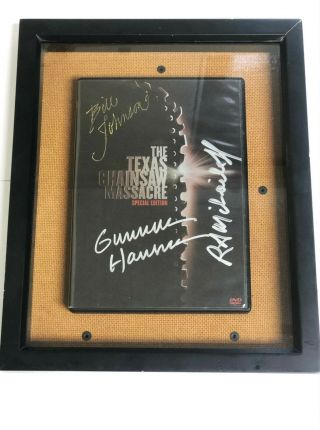 3 Leatherface Autographs - Texas Chainsaw Massacre Dvd Cover [framed]